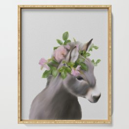 baby donkey crowned art Serving Tray