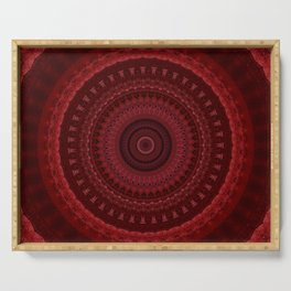 RED Mandala Design Serving Tray