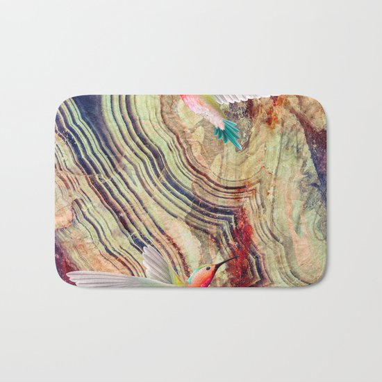 hummingbirds marble Bath Mat