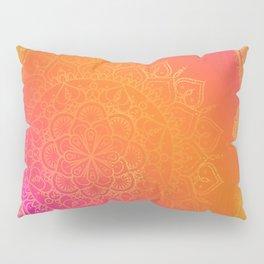 Fuchsia Pink Orange & Gold Indian Mandala Glam Pillow Sham