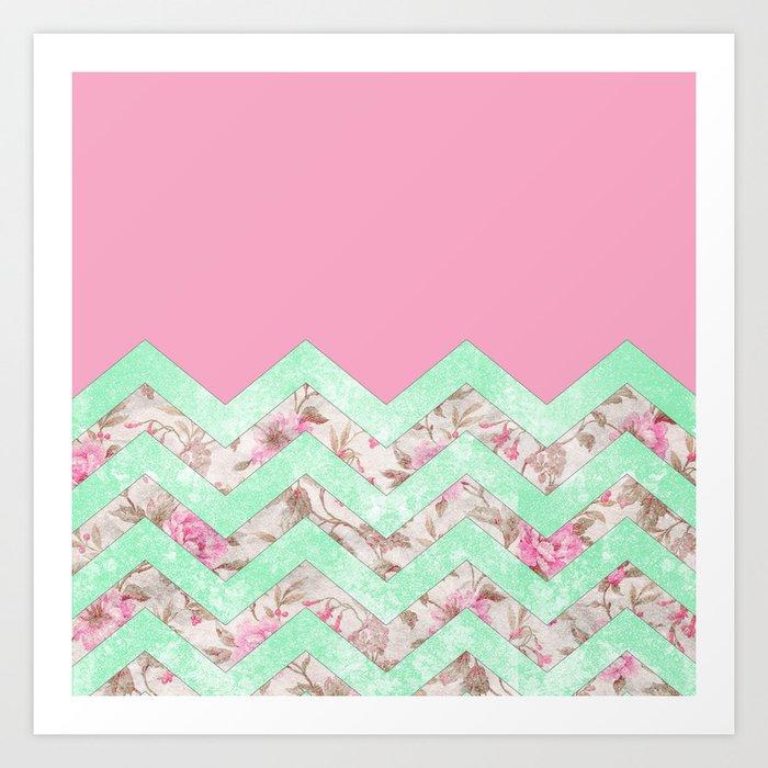 Girly Mint Green Pink Floral Block Chevron Pattern Art