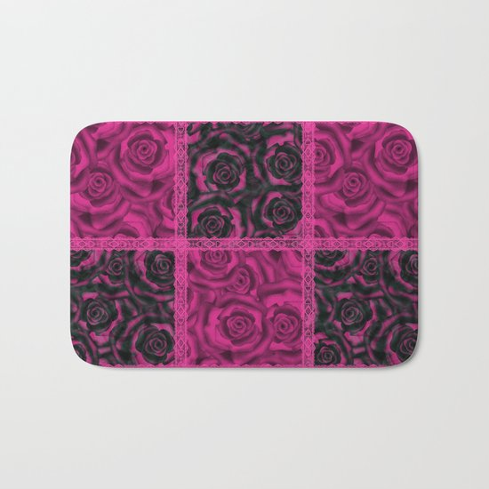 Raspberry patchwork Roses. Bath Mat
