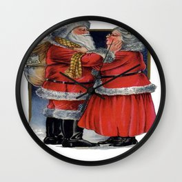 Vintage Mr and Mrs Claus  Wall Clock
