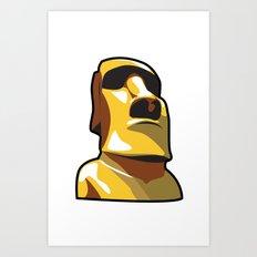 Gold Moai Art Print
