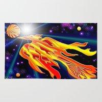 phoenix Area & Throw Rugs featuring Phoenix by JT Digital Art