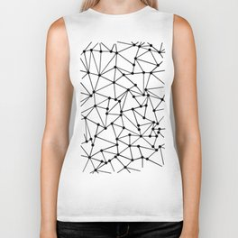 Ab Out Lines With Spots White Biker Tank