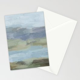 Sky Gray Blue Sage Green Abstract Wall Art, Painting Art, Lake Nature Painting Print, Modern Stationery Cards