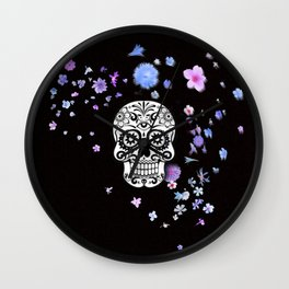 Skull with flower shower Wall Clock