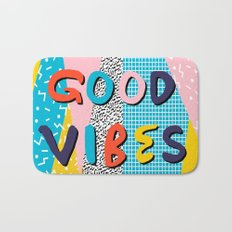 Check it - good vibes happy smiles fun modern memphis throwback art 1980's 80's 80s 1980s 1980 neon  Bath Mat