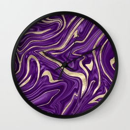 Purple Black Gold Marble #1 #decor #art #society6 Wall Clock