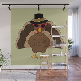 Cool Turkey with sunglasses Happy Thanksgiving Wall Mural