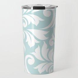 Flourish Damask Art I White on Duck Egg Blue Travel Mug