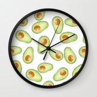 avocado Wall Clocks featuring Avocado by Bridget Davidson