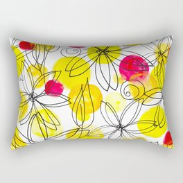 Pineapple Upside Down Floral: Bright Paint Spots with Black Ink Floral Elements Rectangular Pillow