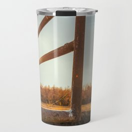 Bridge over an irrigation channel of the Lomellina at sunset Travel Mug