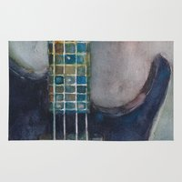 bass Area & Throw Rugs featuring Ed's Bass by Dorrie Rifkin Watercolors