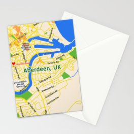 Map of Aberdeen, UK Stationery Cards
