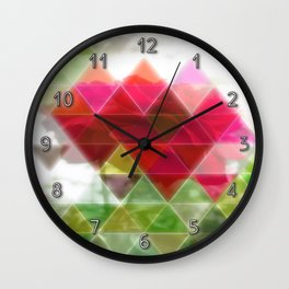 Red Rose with Light 1 Art Triangles 1 Wall Clock