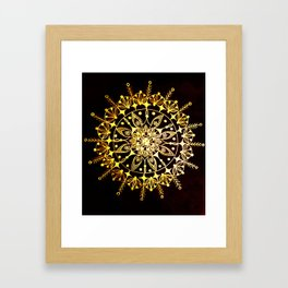 Gold Metallic Mandala on Black Background #2 Framed Art Print