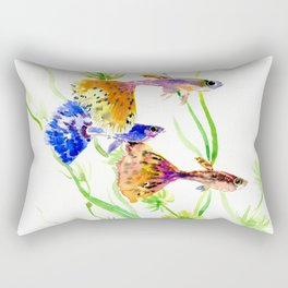 Guppy Fish colorful fish artwork, blue orange Rectangular Pillow