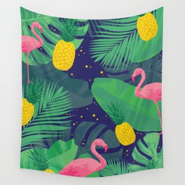 Flamingoes in the Starlight Wall Tapestry