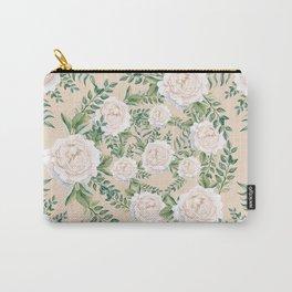 Garden Roses Mandala Pink Green Cream Carry-All Pouch