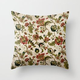Red Green Jacobean Floral Embroidery Pattern Throw Pillow