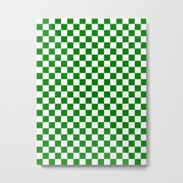 Small Checkered - White and Green Metal Print