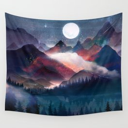 Mountain Lake Under the Stars Wall Tapestry