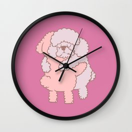 Poodle Hugs Wall Clock