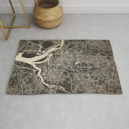 WASHINGTON map District of columbia Ink lines 2 Rug