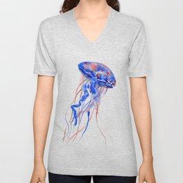 Jellyfish blue red Unisex V-Neck