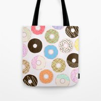donuts Tote Bags featuring Donuts by Alexandra Aguilar