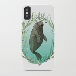 West Indian Manatee in Eel Grass Wreath iPhone Case