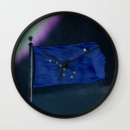 Alaska flag over milky way and northern light Wall Clock