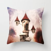 castle in the sky Throw Pillows featuring Castle in the Sky by Heidy Curbelo