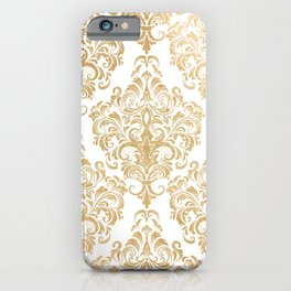 Gold foil swirls damask 15 iPhone Case