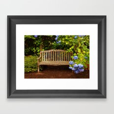 Bench in Blue Framed Art Print
