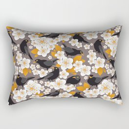 Waiting for the cherries II // Blackbirds brown background Rectangular Pillow