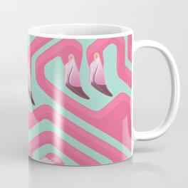 Flamingo Maze on beach glass background. Coffee Mug