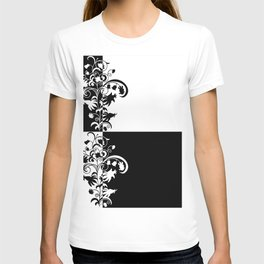 Abstract floral ornament in black and white colors T-shirt
