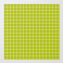 Acid Green - Green Color - White Lines Grid Pattern Canvas Print