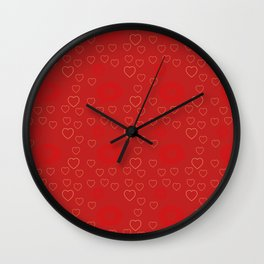 Bright ruby red fancy abstract love style pattern with fine golden hearts and bubbles Wall Clock
