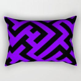 Black and Indigo Violet Diagonal Labyrinth Rectangular Pillow
