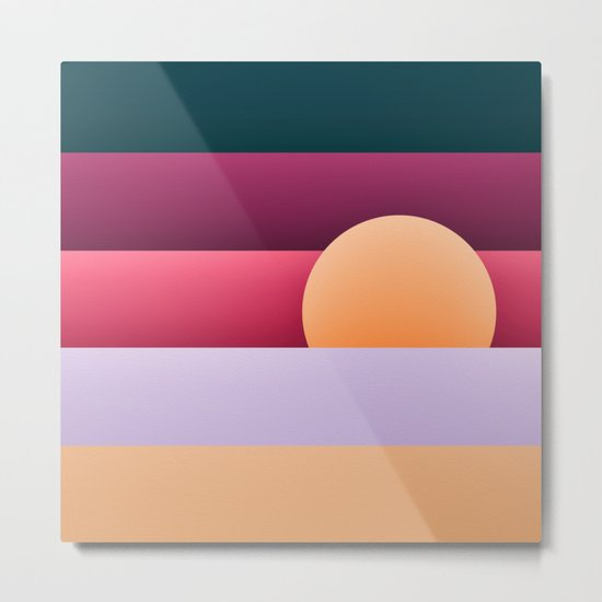 Sunset at beach Metal Print