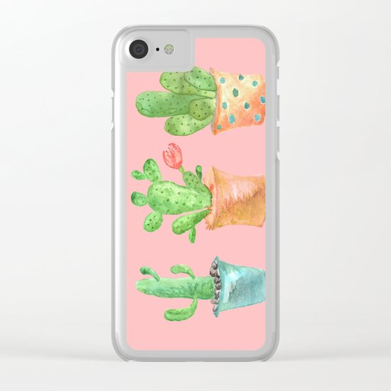 Three Green Cacti On Pink Background Clear iPhone Case