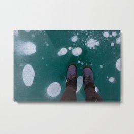 Frozen bubbles in a blue lake Metal Print