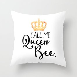 Queen Bee Funny Quote Throw Pillow