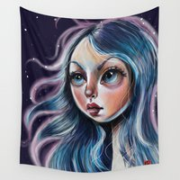 surrealism Wall Tapestries featuring The Starry Sky - Pop Surrealism Illustration by Kristin Frenzel