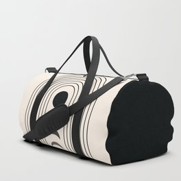 Geometric Lines in Black and Beige 13 (Rainbow and Moon Phases) Duffle Bag